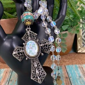 ⭐️Adorned Crown Easter Cross crystal bead necklace